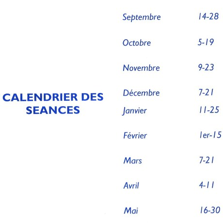 calendrier séances K 2018 2019